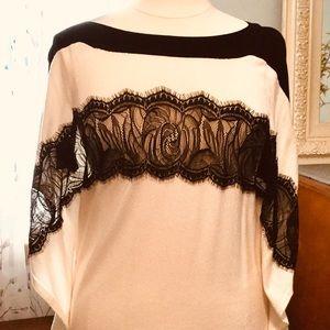 Black lace embellished sweater